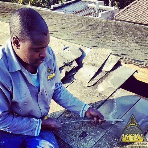 Slate roof repairs and waterproofing.