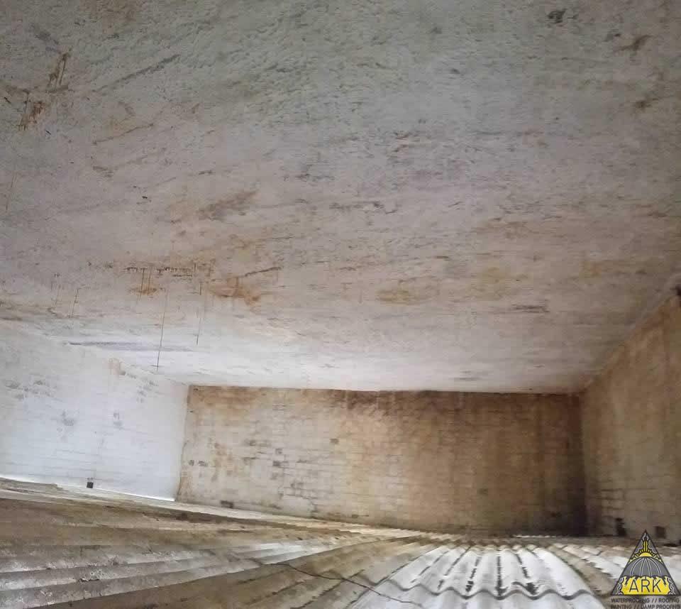 Waterproofing flat deck ceiling repairs spalling for Flat roof waterproofing paint