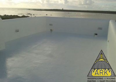 Liquid rubber waterproofing. Cool roof system. Energy star rated.