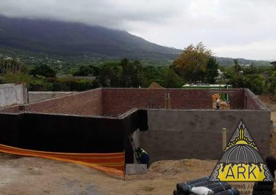 Retaining wall waterproofing.